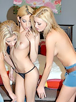 Three hot blonde lesbians are fucking each other.