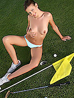 Brunette golfer gets naked at the 18th hole.