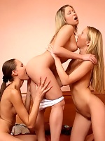 Naughty teen trio licks rubs and dildos sweet pink pussies